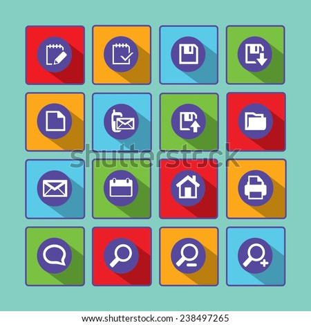 Communication and media Flat icons for Web and Mobile Applications - stock vector