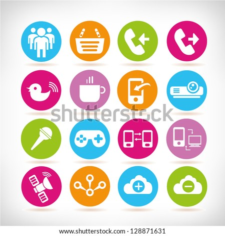 communication and multimedia buttons, web application icon set, vector - stock vector