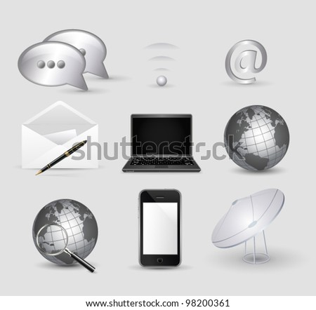 communication and social media vector icon set - stock vector