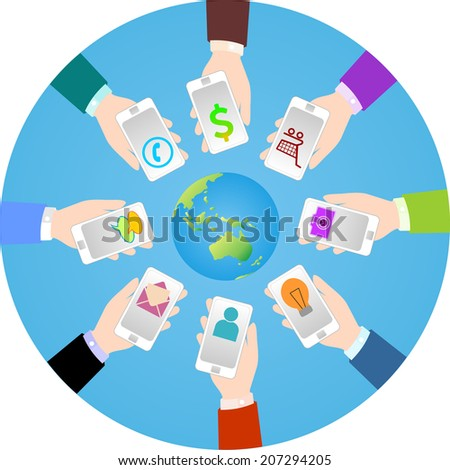 Communication around the world by smartphone with touchscreen device. - stock vector