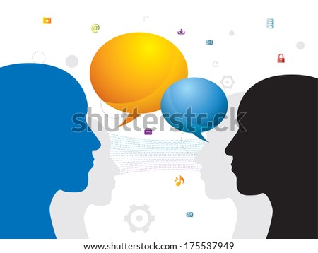 Communication between people through chat on social network  - stock vector