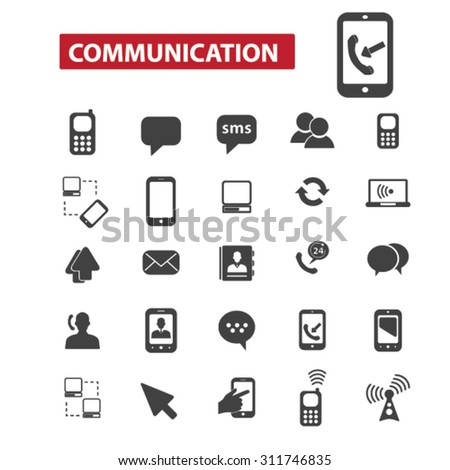 communication black isolated concept icons, illustrations set. Flat design vector for web, infographics, apps, mobile phone servces  - stock vector