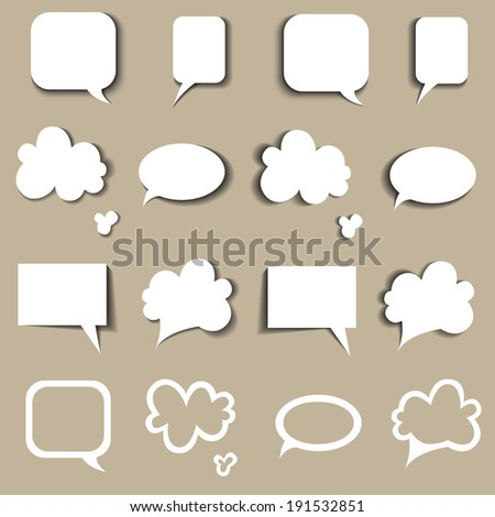 Communication bubbles on beige background. Speech bubbles. Vector illustration