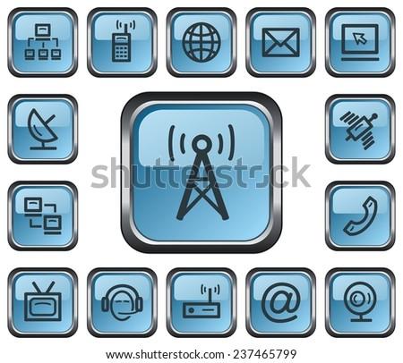 Communication button set - stock vector