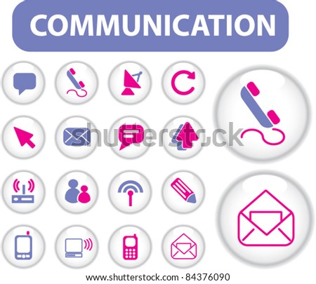 communication buttons, icons, signs, vector illustration set - stock vector