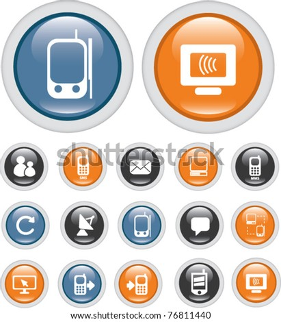 communication buttons, vector - stock vector