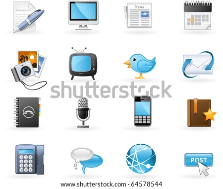 Communication channels and Social Media icon set - stock vector