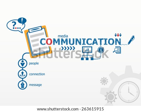 Communication concept and notebook. Hand writing Communication with blue marker - stock vector