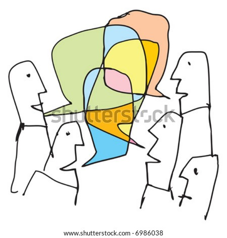 Communication Concept illustration - done in bold ink style. A bunch of people having a colorful conversations / socializing / debating, etc. - stock vector