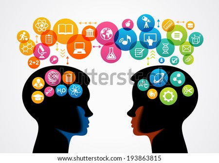 communication concept.  Profiles of two children surrounded by colored circles and icons of science and education.  The file is saved in the version AI10 EPS. This image contains transparency. - stock vector