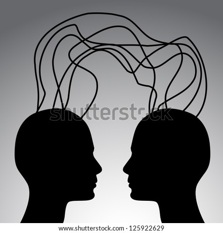 Communication concept - two heads connection vector