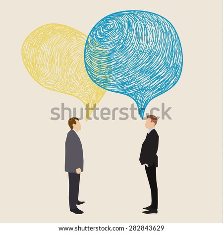 Communication concept. Two men with hand drawn speech bubbles. Flat design, vector illustration - stock vector