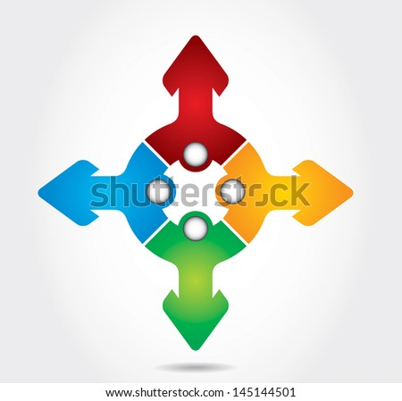 Communication concept with arrows - template with copy space area - stock vector