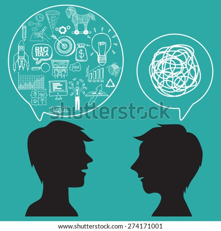Communication concept with business doodles in speech bubble. - stock vector