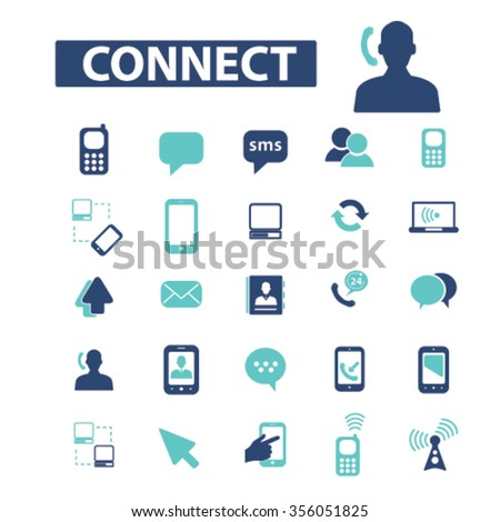 Communication, connect,  business talking, calling, chat, phone, message, contact, technology, gadget, telephone, connection, technology, mobile icons, signs vector set  - stock vector