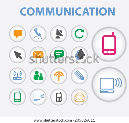 communication, connection, computer, mobile icons, signs, symbols set, vector - stock vector