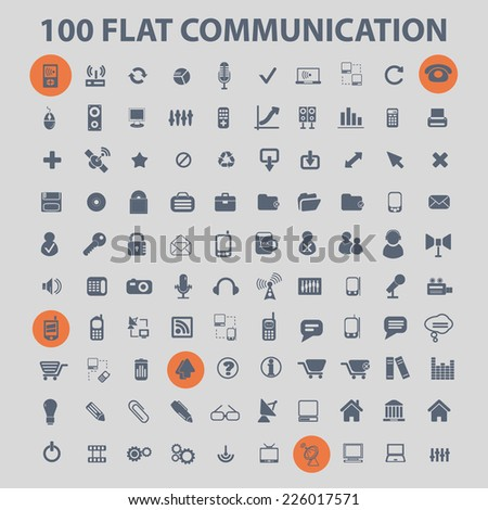communication, connection icons, signs, illustrations set, vector