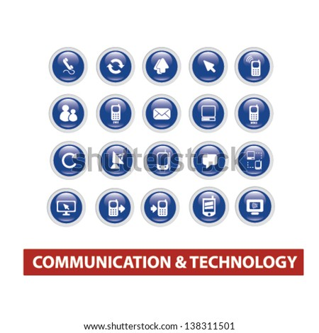 communication, connection, internet, computer blue glossy circle icons, buttons set, vector - stock vector