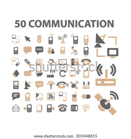 communication, connection, network flat icons, signs, illustration concept, vector - stock vector