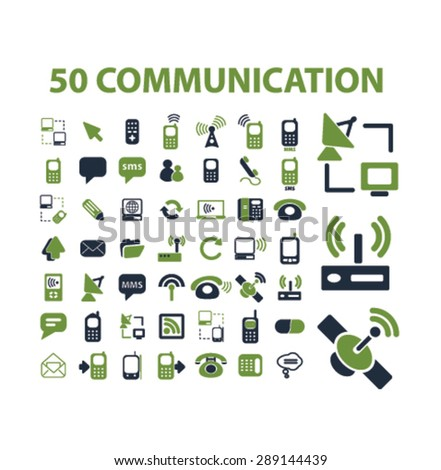 communication, connection, phone isolated icons, illustrations, vector - stock vector