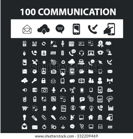 communication, connection, technology, phone icons, signs concept vector set for website, mobile, infographics - stock vector
