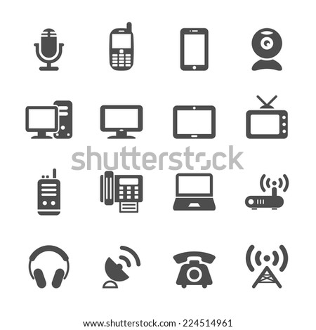 communication device icon set, vector eps10 - stock vector