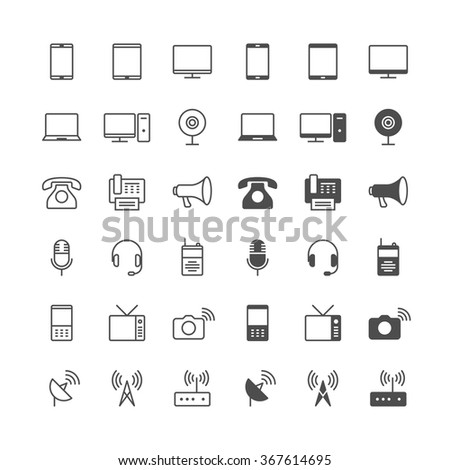 Communication device icons, included normal and enable state. - stock vector