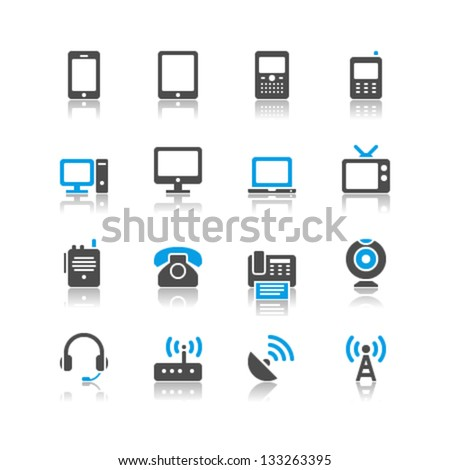 Communication device icons reflection theme - stock vector