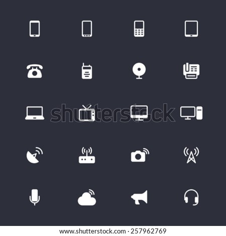 Communication device simple icons - stock vector