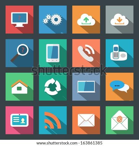 Communication flat icons set - stock vector