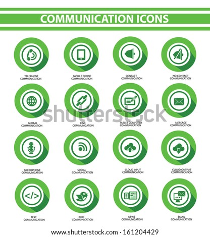 Communication,Green buttons,vector - stock vector