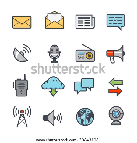 Communication Icon Bold Stroke with Color on White Background