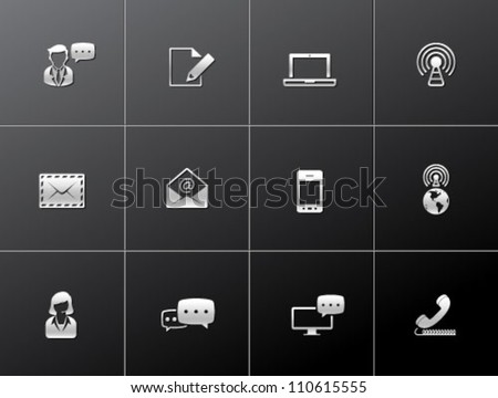 Communication icon series in metallic style - stock vector