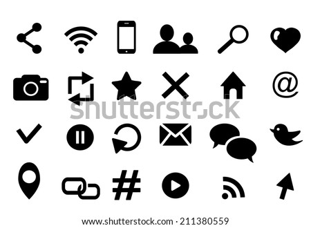 Communication icon set with twitter bird media wifi email cloud retweet hashtag phone bubble email rss  photo  like profile home geolocation favorite search cursor logo  isolated on white - stock vector