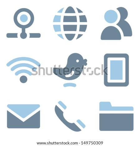 Communication icons, blue solid series - stock vector