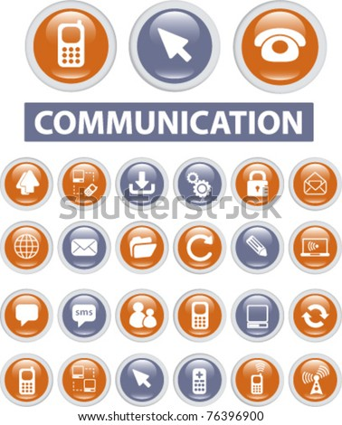 communication icons & buttons, vector - stock vector