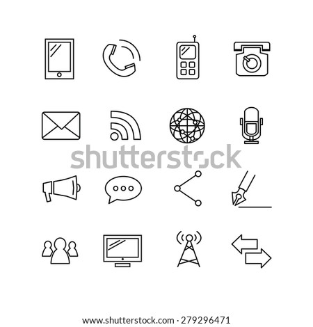 Communication Icons, Clean thin line style sport icon set. Vector Illustration EPS10. - stock vector