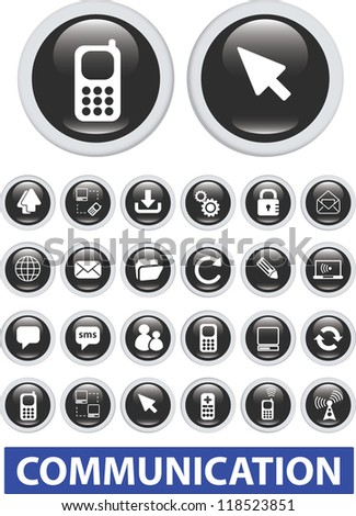 communication icons, glossy black buttons set, vector - stock vector