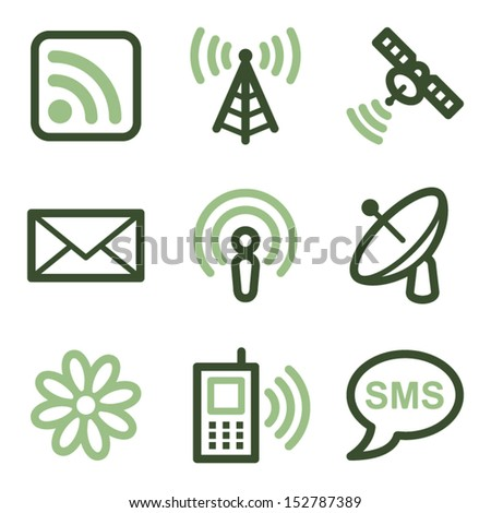 Communication icons, green line contour series - stock vector