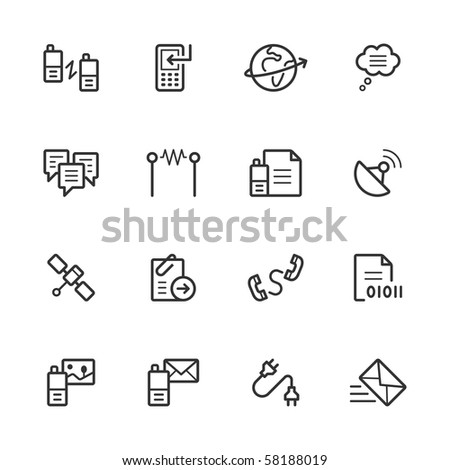 Communication icons. Lines have not been expanded to maintain maximum editability. - stock vector