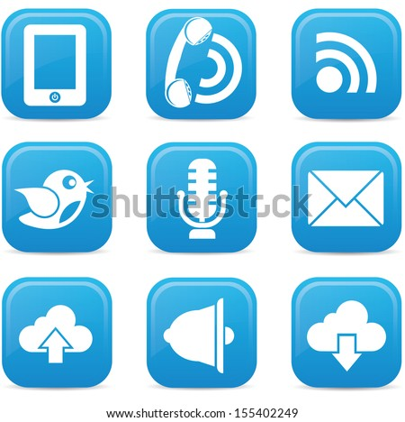 Communication icons on buttons,Blue version,vector