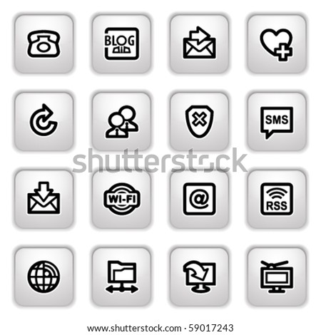 Communication icons on gray buttons. - stock vector