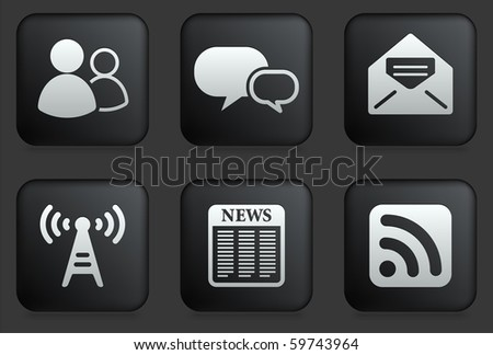 Communication Icons on Square Black Button Collection Original Illustration - stock vector