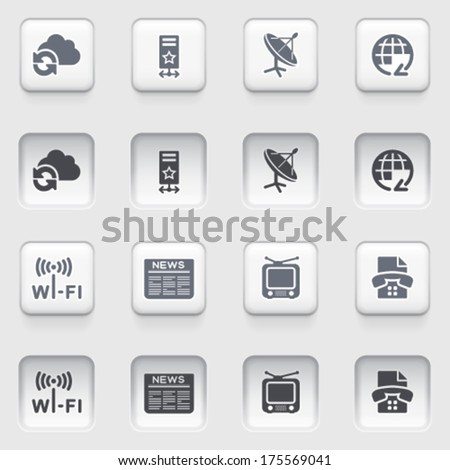 Communication icons on white buttons. - stock vector