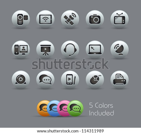 Communication Icons // Pearly Series -------It includes 5 color versions for each icon in different layers --------- - stock vector