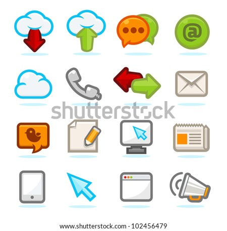 Communication icons set - stock vector