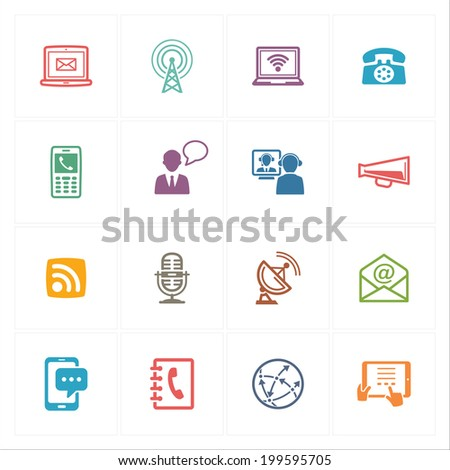 Communication Icons Set 1 - Colored Series  - stock vector