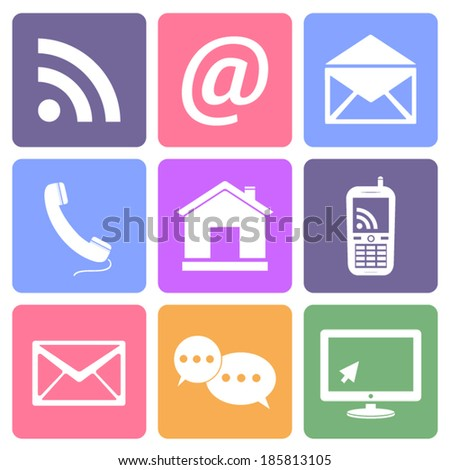 Communication icons set, flat design vector