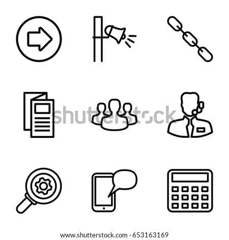 Communication icons set. set of 9 communication outline icons such as arrow right, calculator, news, chain, megaphone, help support, user group, message on phone