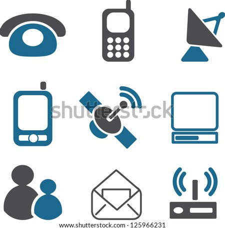 communication icons set, vector - stock vector